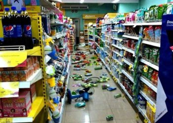 Goods at a grocery store fallen from from the shelves after an earthquake in Chiang Rai province, northern Thailand Monday, May 5, 2014
