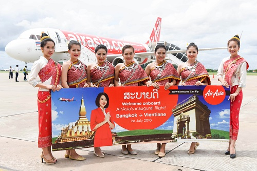 "Thai AirAsia Stages Inaugural ""Vientiane-Bangkok"" Flight"